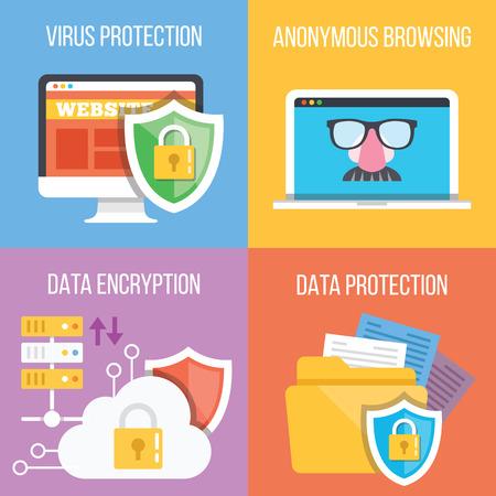 바이러스 보호, 익명 브라우징, 데이터 암호화, 데이터 보호 개념. 네 트렌디 한 평면 그림의 집합 일러스트