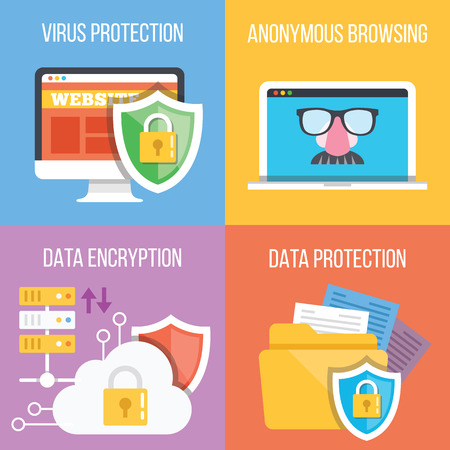 Virus protection, anonymous browsing, data encryption, data protection concepts. Set of four trendy flat illustrations