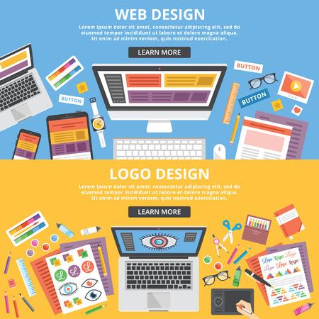graficas: Diseño web, diseño de logotipo planas ilustración banners conceptos ajustado. Vista superior Vectores