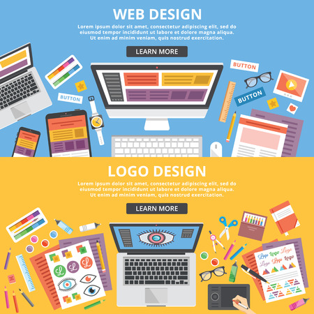 Web design, logo design flat illustration banners concepts set. Top view Illusztráció