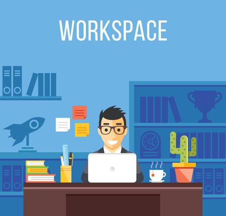 Lavori in corso. Uomo in vestito nella stanza dell'ufficio. Creativo interno design piatto, posto di lavoro, i concetti di lavoro Vettoriali