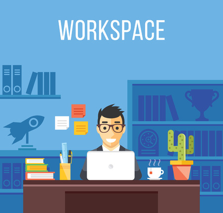 laptop: Man at work. Man in suit in office room. Creative flat design interior, workplace, workspace concepts