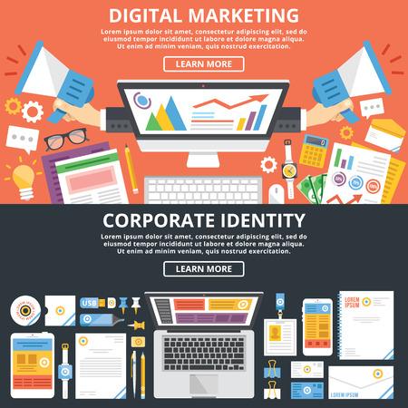 mercadeo en red: El marketing digital, identidad corporativa ilustraci�n plana conceptos ajustado