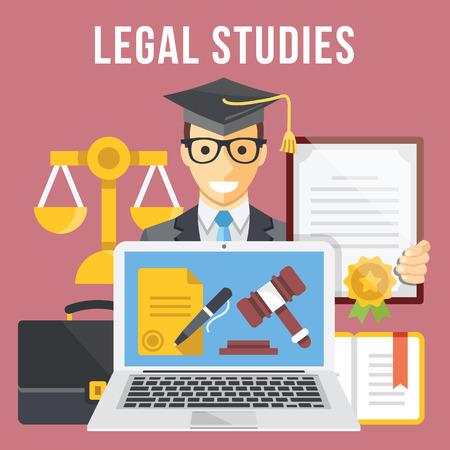 justice: Legal studies flat illustration concept