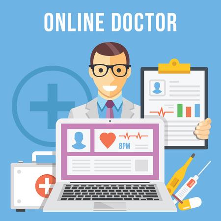 medical symbol: Online doctor flat illustration concept Illustration
