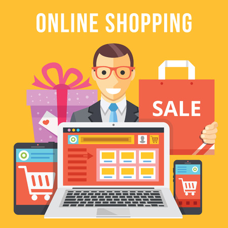 ecommerce: Online shopping flat illustration concept