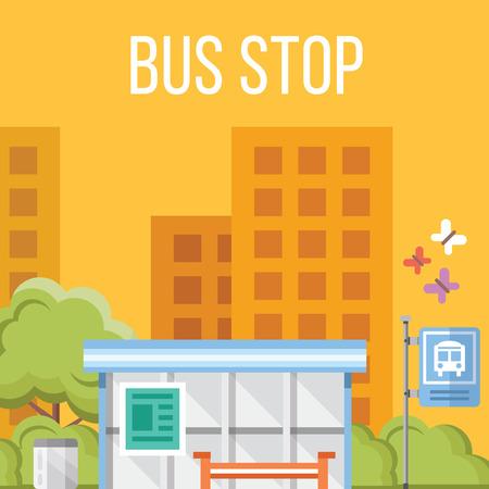 passenger buses: Parada de autobús. Ilustración vectorial Flat