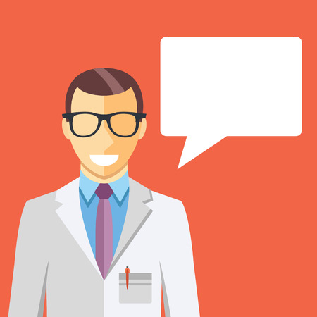 consulting business: Doctor in white coat and speech bubble Illustration