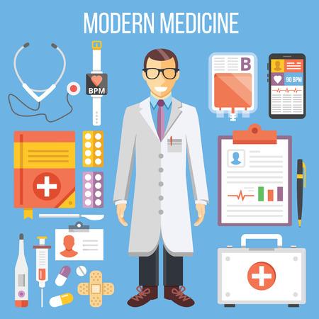 primeros auxilios: La medicina moderna, médico y equipo médico plana ilustración, establecer iconos planos Vectores