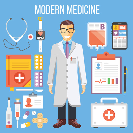 1st: Modern medicine, doctor and medical equipment flat illustration, flat icons set Illustration