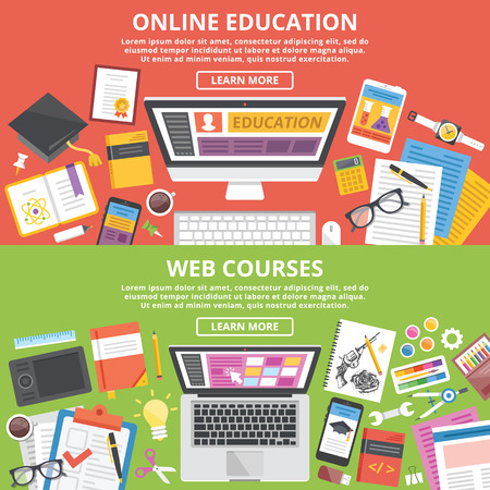 internet marketing: Online education, web courses flat illustration concepts set