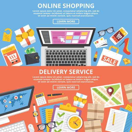 Lo shopping online, impostare illustrazioni piane servizio di consegna Archivio Fotografico - 43676746