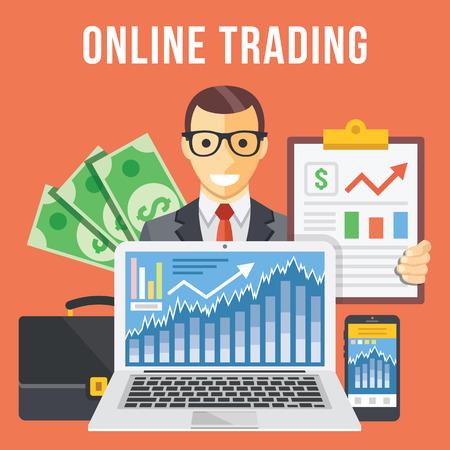 bolsa de valores: El comercio en línea ilustración plana concepto Vectores