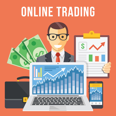stocks: Online trading flat illustration concept Illustration