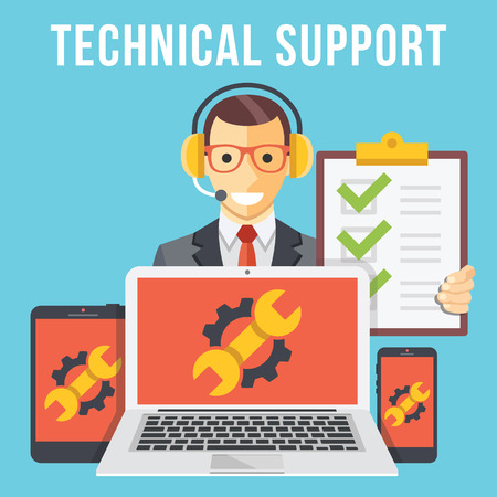 phone support: Technical support flat illustration concept