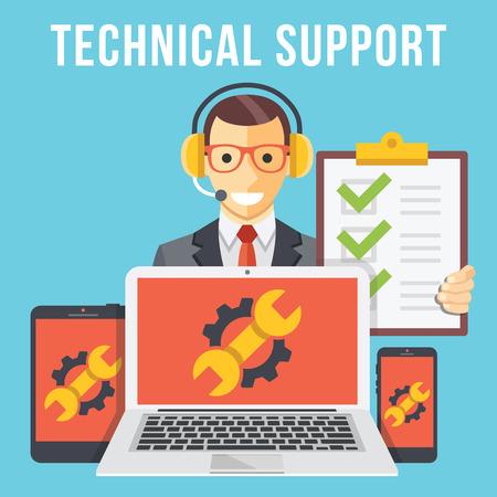 Wsparcie techniczne płaskim koncepcji ilustracji