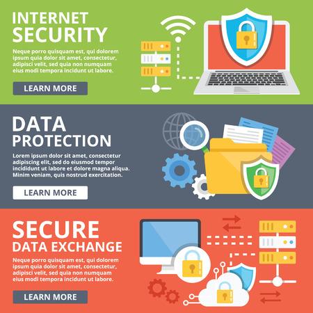 インター ネット セキュリティ、データ保護、セキュリティで保護されたデータ交換、暗号化フラット図概念設定  イラスト・ベクター素材