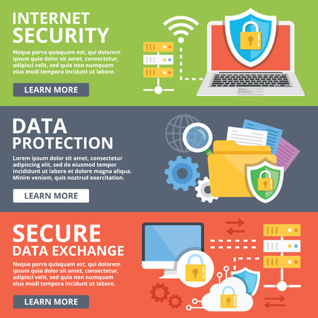 protected database: Internet security, data protection, secure data exchange, cryptography flat illustration concepts set Illustration