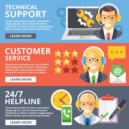 Soporte técnico, servicio al cliente, conjunto de conceptos de ilustración plana de línea de ayuda las 24 horas Ilustración de vector