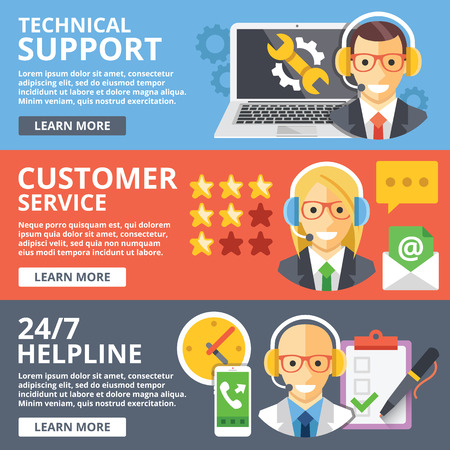 customer service phone: Technical support, customer service, 24 hours helpline flat illustration concepts set Illustration