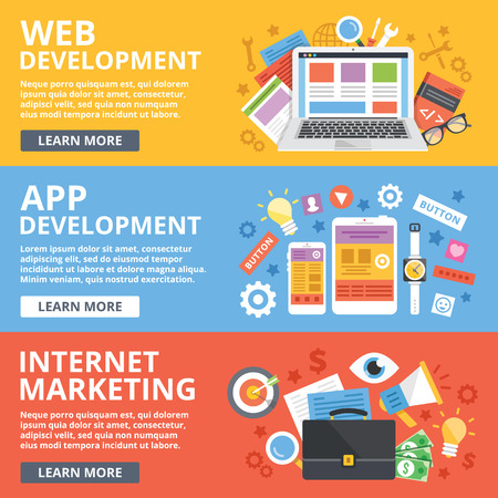 Web development, mobile apps development, internet marketing flat illustration concepts set Иллюстрация