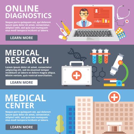 medical center: Online diagnostics, medical research, medical center flat illustration concepts set