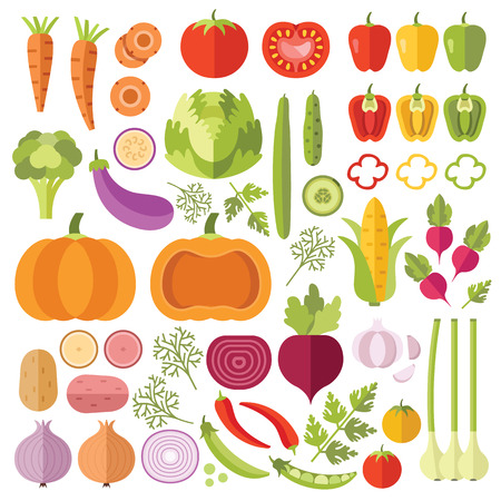 tomates: Verduras iconos planos establecidos