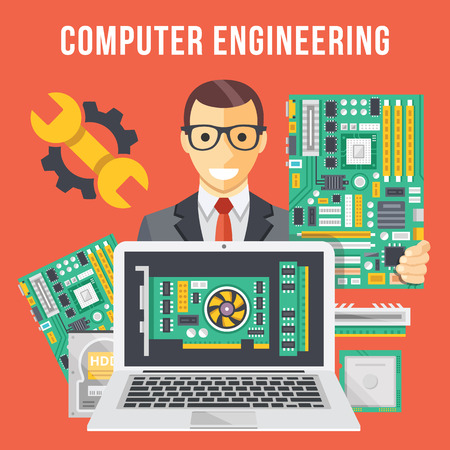 person computer: Computer engineering flat illustration concept