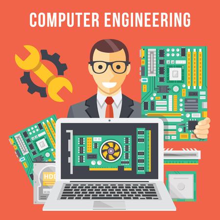 ingeniería: Ingeniería informática ilustración concepto plana