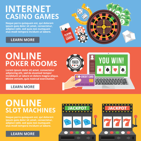Internet casino games, online poker rooms, slot machines flat illustration concepts set