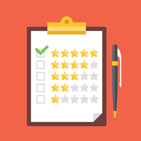 survey: Clipboard with rating stars and pen. Quality control, customers reviews, service rating concepts