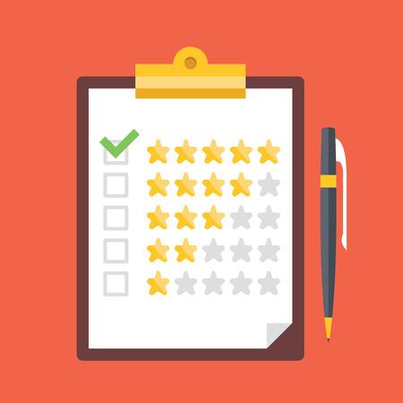 revisando documentos: Portapapeles con estrellas de clasificación y la pluma. El control de calidad, los clientes opiniones, conceptos de calificación servicio