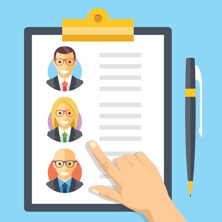 인적 자원, 고용, 팀 관리 평면 그림 개념