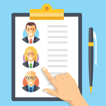 Los recursos humanos, el empleo, gestión de equipos ilustración plana conceptos