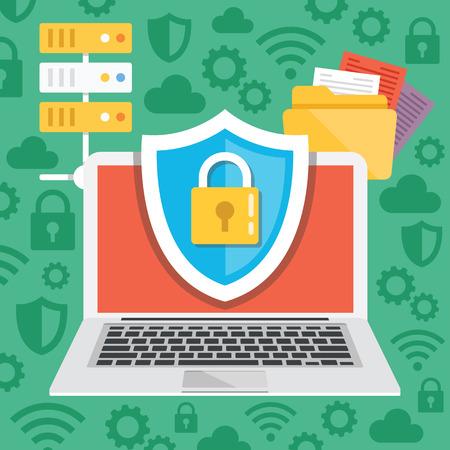 protecci�n: Protecci�n de datos, ilustraci�n plana conceptos de seguridad en Internet Vectores