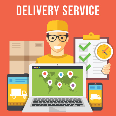 horarios: Servicio de entrega y recogida de paquetes de mensajer�a ilustraci�n plana conceptos