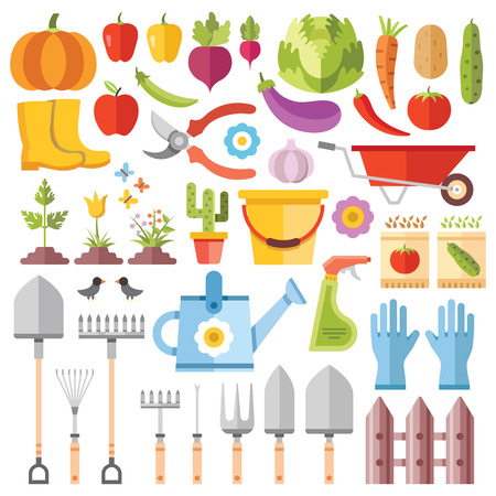 Gardening tools, horticultural activities, gardening ideas flat icons set Stok Fotoğraf - 43891909