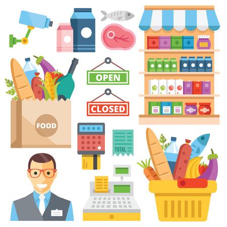 Equipos para supermercado, surtido de alimentos, alimentos al por menor iconos planos establecidos Ilustración de vector