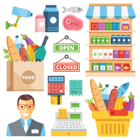 abarrotes: Equipos para supermercado, surtido de alimentos, alimentos al por menor iconos planos establecidos