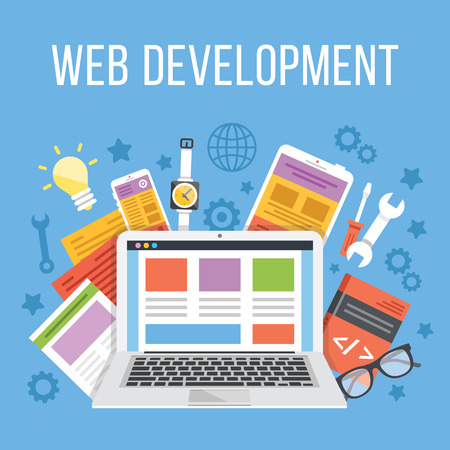 app banner: Web development flat illustration concept