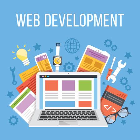 Web-Entwicklung Flach Illustration Konzept Standard-Bild - 43891914