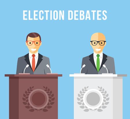 dispute: Election debates, dispute, social discussion flat illustration concepts Illustration