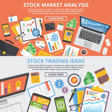 bolsa de valores: Análisis del mercado de valores, ideas de negociación de valores concepto conjunto ilustración plana Vectores