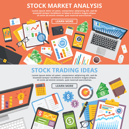 Stock Vector: Stock market analytics, stock trading ideas flat illustration concept set