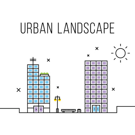 business buildings: Urban landscape concept. Office buildings, business centers and bench Illustration