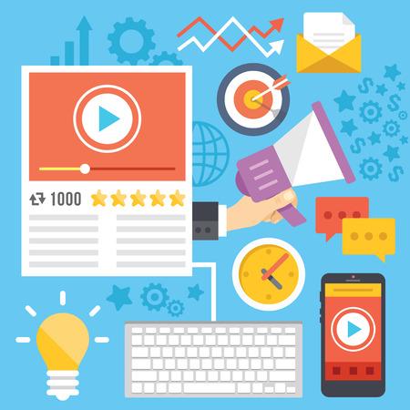 Video marketing, media marketing, digital marketing flat illustration concepts Illustration