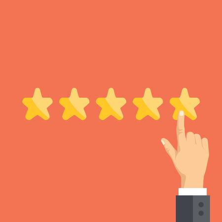 ottimo: Indicare mano e cinque stelle. Valutazione dei clienti, il concetto di feedback degli utenti