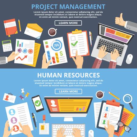 recursos humanos: La gestión de proyectos, recursos humanos conceptos ilustración plana establecen. Vista superior