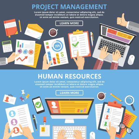 the human hand: Project management, human resources flat illustration concepts set. Top view