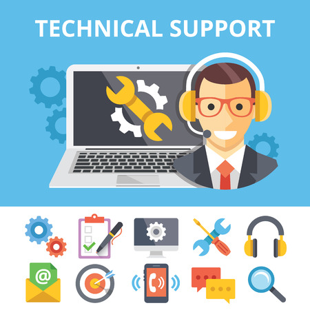 phone support: Technical support flat illustration and flat technical support icons set